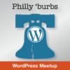 Philly 'burbs WordPress Meetup logo W on top of the Liberty Bell